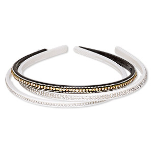 headband, acrylic / glass rhinestone / silver- / gold-finished brass, assorted colors, 6mm and 8mm wide with cupchain, 15 inches. sold per pkg of 3.