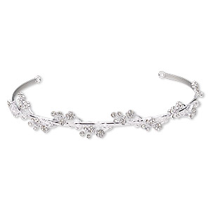 headband, glass / glass rhinestone / imitation rhodium-plated brass, clear, 20mm wide with 2 loops, 15 inches. sold individually.
