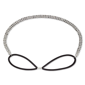 headband, stretch, glass rhinestone / nylon / silver-plated brass, black and clear, 8mm wide with cupchain, 22-28 inches. sold individually.