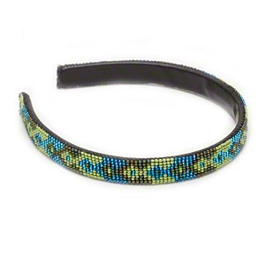 headband, vinyl / plastic / glass, blue / light green / peacock ab, 16mm wide seed-beaded, 15 inches. sold individually.