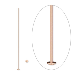 headpin, 14kt rose gold-filled, 1-1/2 inches, 24 gauge. sold per pkg of 10.