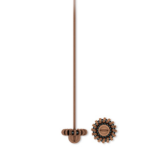 headpin, antique copper-plated pewter (zinc-based alloy), 2 inches with 7mm coil bead, 21 gauge. sold per pkg of 500.