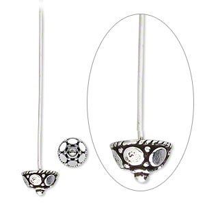 headpin, antiqued sterling silver, 1-3/8 inches long with 8x5mm bead cap, 21 gauge. sold per pkg of 2.