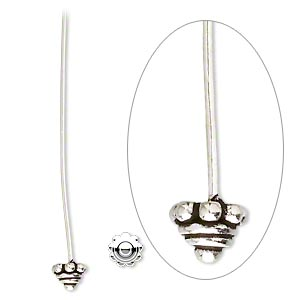 headpin, antiqued sterling silver, 2 inches with 5mm rondelle, 21 gauge. sold per pkg of 2.
