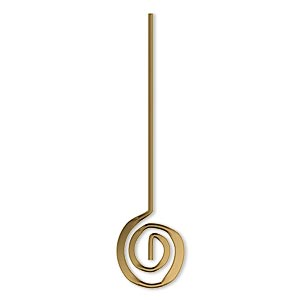 headpin, crop circles jewelry, antique gold-plated brass, 1-7/8 inches with 12mm swirl, 19 gauge. sold per pkg of 100.