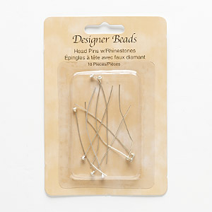 headpin, glass rhinestone and silver-finished pewter (zinc-based alloy), clear, 2-1/4 inches with 3mm faceted round, 23 gauge. sold per pkg of 8.