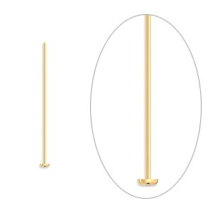 headpin, gold-plated brass, 1 inch, 24 gauge. sold per pkg of 1,000.