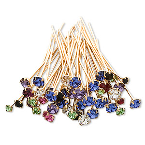 headpin mix, swarovski crystal rhinestone and gold-plated brass, mixed colors, 1-1/2 inches with pp18 / pp24 / pp32, 21-23 gauge. sold per pkg of 144 (1 gross).