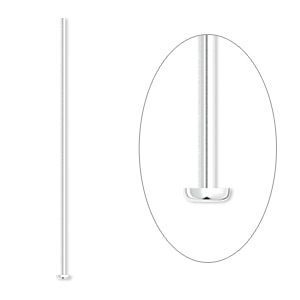headpin, silver-plated brass, 1/2 inch, 22 gauge. sold per pkg of 100.