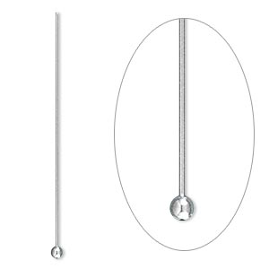 headpin, stainless steel, 1-1/2 inches with 2mm ball, 24 gauge. sold per pkg of 100.