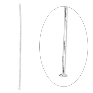 headpin, sterling silver, 2-1/2 inches, 22 gauge. sold per pkg of 10.