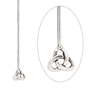 headpin, sterling silver, 2-1/4 inches with 6mm celtic triangle knot, 20 gauge. sold per pkg of 4.