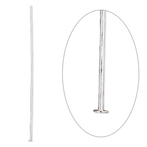 headpin, sterling silver, 3 inches, 20 gauge. sold per pkg of 10.