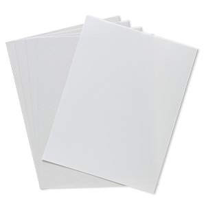hot-fix transfer sheet, silicone / pet plastic film / pvc plastic, semitransparent white, 11x8-1/2 inch rectangle. sold per pkg of 5.