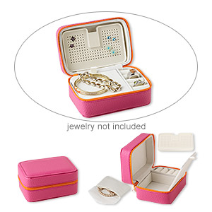 jewelry case, nylon / vinyl / imitation suede, raspberry / orange / cream, 2-1/2 x 5 x 3-1/2 inch rectangle with zipper. sold individually.