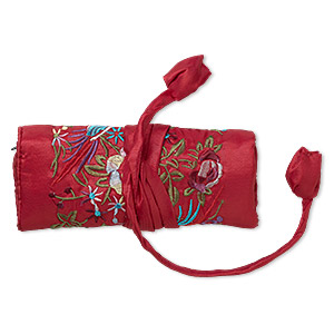 jewelry roll, embroidered nylon brocade, red and multicolored, 6-1/4x3 inches closed, 9x6-3/4 inches open, phoenix design, tie-cord closure. sold individually.
