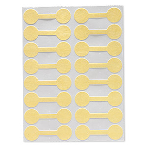 jewelry tag, shark-skin, mylar, yellow, 9/16 inch round, 1-15/16 inches unfolded. sold per pkg of 500.