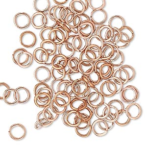 jumpring, anodized aluminum, copper, 5mm round, 3.4mm inside diameter, 20 gauge. sold per pkg of 100.