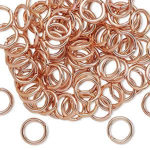 jumpring, anodized aluminum, copper, 8mm round, 5.4mm inside diameter, 16 gauge. sold per pkg of 100.