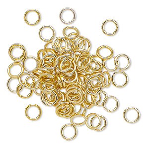 jumpring, anodized aluminum, gold, 5mm round, 3.4mm inside diameter, 20 gauge. sold per pkg of 100.