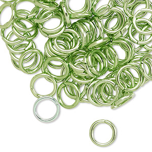 jumpring, anodized aluminum, green, 8mm round, 5.4mm inside diameter, 16 gauge. sold per pkg of 100.