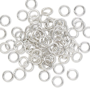 jumpring, anodized aluminum, silver, 5.5mm round, 3.5mm inside diameter, 18 gauge. sold per pkg of 100.