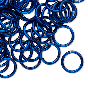 jumpring, anodized tempered aluminum, dark blue, 12mm round, 9.2mm inside diameter, 15 gauge. sold per pkg of 100.