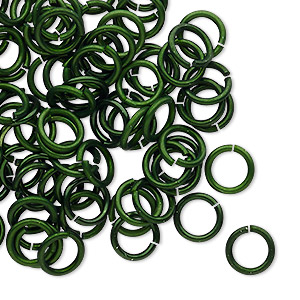 jumpring, anodized tempered aluminum, dark green, 8mm round, 5.6mm inside diameter, 17 gauge. sold per pkg of 100.