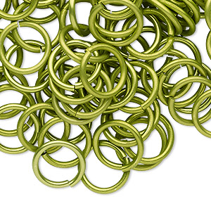 jumpring, anodized tempered aluminum, light green, 12mm round, 9.2mm inside diameter, 15 gauge. sold per pkg of 100.