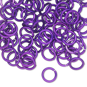 jumpring, anodized tempered aluminum, purple, 8mm round, 5.6mm inside diameter, 17 gauge. sold per pkg of 100.