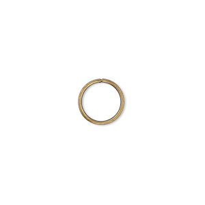 jumpring, antique gold-plated brass, 10mm round, 8mm inside diameter, 18 gauge. sold per pkg of 100.