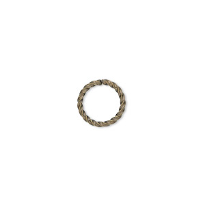 jumpring, antique gold-plated brass, 10mm twisted round, 8mm inside diameter, 16 gauge. sold per pkg of 1,000.