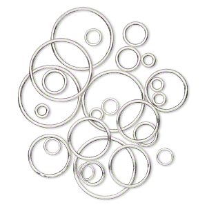 jumpring, antique silver-plated pewter (zinc-based alloy), 8-35mm assorted soldered round, 4.7-30.8mm inside diameter, 12-15 gauge. sold per pkg of 25.