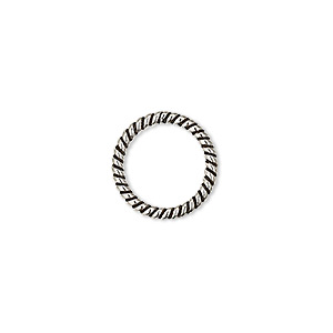 jumpring, antique sterling silver, 14mm soldered twisted round, 11.5mm inside diameter, 15 gauge. sold per pkg of 2.