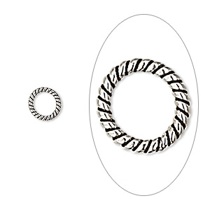 jumpring, antique sterling silver, 7mm soldered twisted round, 5.3mm inside diameter, 18 gauge. sold per pkg of 8.