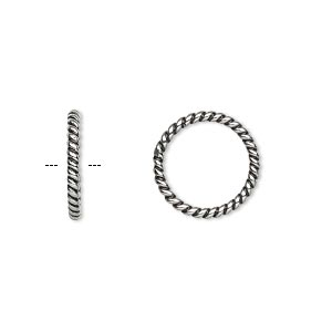 jumpring, antiqued stainless steel, 14.5mm soldered twisted round, 11mm inside diameter, 14 gauge. sold per pkg of 2.