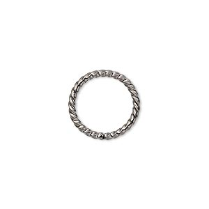 jumpring, gunmetal-plated brass, 15mm twisted round, 11.8mm inside diameter, 14 gauge. sold per pkg of 100.