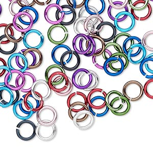 jumpring mix, anodized aluminum, mixed colors, 6mm round, 4.2mm inside diameter, 18 gauge. sold per pkg of 100.