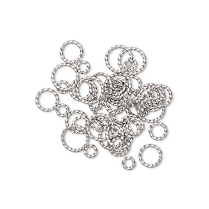 jumpring mix, stainless steel, 6-12mm twisted round, 3.4-9.5mm inside diameter, 16 gauge. sold per pkg of 50.