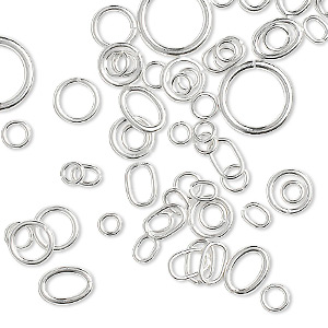 jumpring mix, sterling silver, 3-10mm round with 1.4-7.6mm inside diameter and 4x3mm-7x5mm oval with 2.5x1.5mm-5x3.3mm inside diameter, 20-26 gauge. sold per 5-gram pkg, approximately 75-85 jumprings.