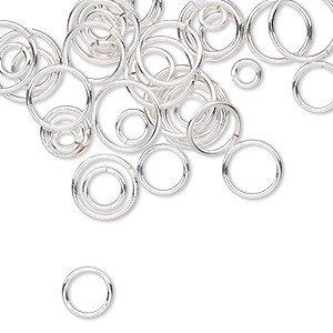 jumpring mix, sterling silver-filled, 4-10mm round, 2-8mm inside diameter, 18-22 gauge. sold per 50-gram pkg, approximately 430-470 jumprings.