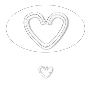 jumpring, sterling silver, 7x6mm heart, 5x3.3mm inside diameter, 19 gauge. sold per pkg of 10.
