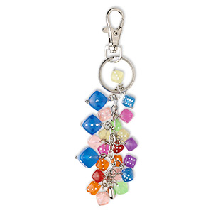key ring, acrylic and nickel-plated pewter (tin-based alloy), 5 inches with mixed dice. sold individually.