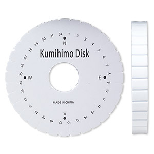 kumihimo disc, eva foam, white and black, 6-inch round with 1-1/2 inch inside hole and 32 slots. sold individually.