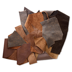 leather scrap mix (natural / dyed), brown tones, mixed shape. sold per 1/2 pound pkg.