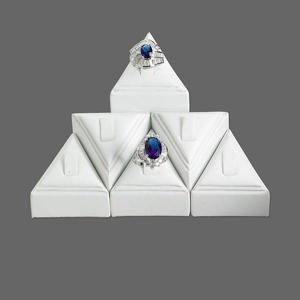 leatherette tall pedestal ring display set, white. sold per set of 6 displays.