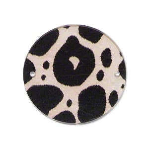 link, acrylic, off-white and black, 30mm double-sided flat round with dots. sold per pkg of 10.