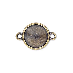 link, almost instant jewelry and tierracast, antique brass-plated pewter (tin-based alloy), 16.5mm round with 14mm rivoli setting. sold individually.