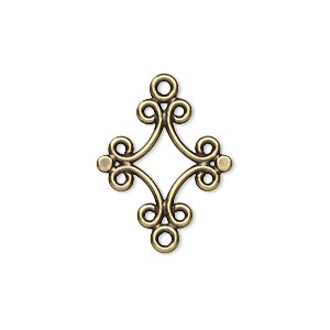 link, antique gold-plated brass, 18x17mm diamond. sold per pkg of 10.