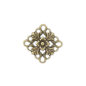 link, antique gold-plated brass, 20x20mm single-sided diamond. sold per pkg of 48.